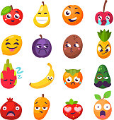 Cartoon emotions fruit characters isolated vector. Smile food nature happy expression. Vitamin healthy juicy mascot tasty garden design.