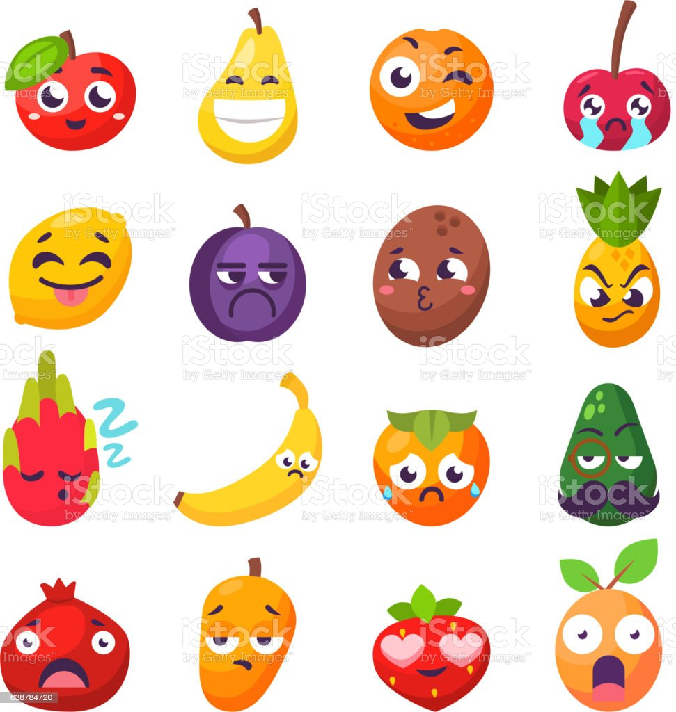Emotions fruit characters isolated vector vector art illustration