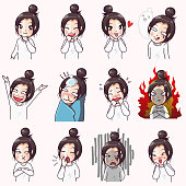 Various actions and expressing the emotions of young women in daily life.