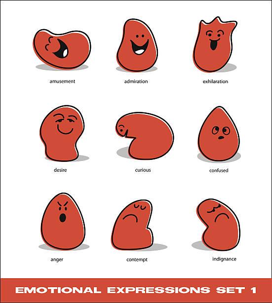 ilustraciones, imágenes clip art, dibujos animados e iconos de stock de emotions icon set with cute cartoon blob characters - emoji emocionado