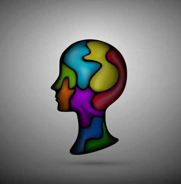 sentiment d'émotions à l'intérieur du concept, la tête pleine de formes colorées, internes, - Illustration vectorielle