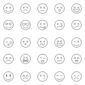 Emotions lines icons set.Vector