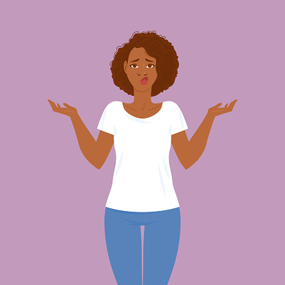 Emotions. Pretty young black woman in casual clothes with hair in Afro style.
