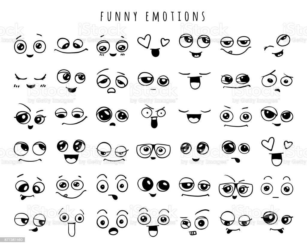 Emociones. Conjunto de garabatear caras. Sonríe. ilustración de emociones conjunto de garabatear caras sonríe y más vectores libres de derechos de abstracto libre de derechos