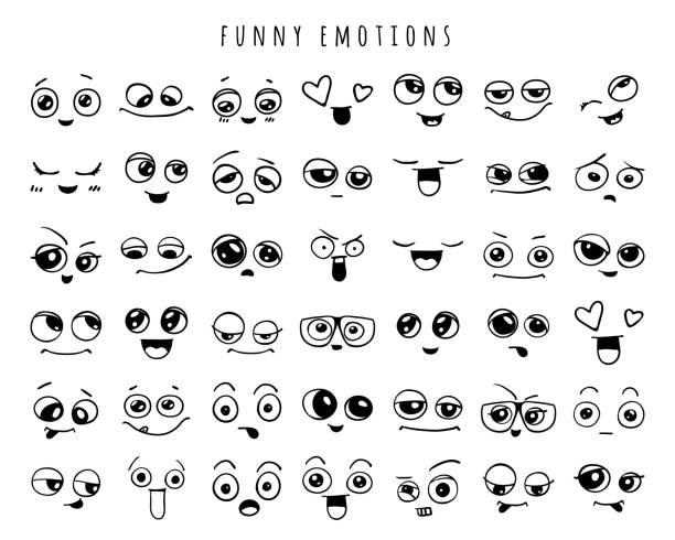 Emotions. Set of doodle faces. Smile. Emotions. Set of doodle faces. Smile. love emotion stock illustrations