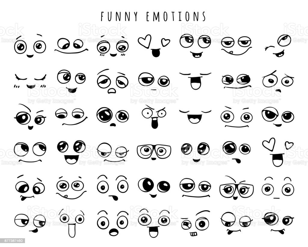Emotions. Set of doodle faces. Smile. vector art illustration