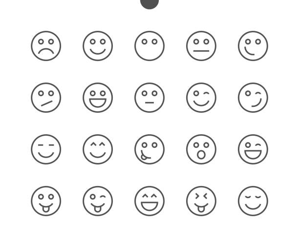 emotions ui pixel perfect well-crafted vector thin line icons 48x48 ready for 24x24 grid for web graphics and apps with editable stroke. simple minimal pictogram - happy emoji stock illustrations, clip art, cartoons, & icons