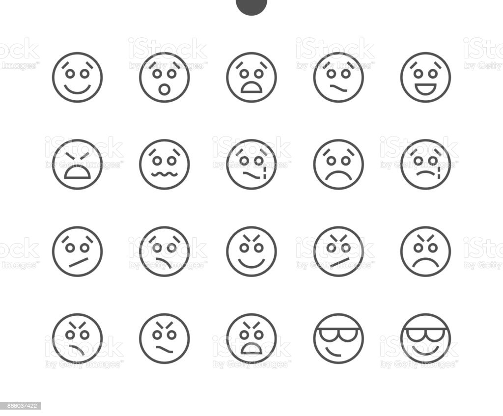 Emotions UI Pixel Perfect Well-crafted Vector Thin Line Icons 48x48 Ready for 24x24 Grid for Web Graphics and Apps with Editable Stroke. Simple Minimal Pictogram vector art illustration