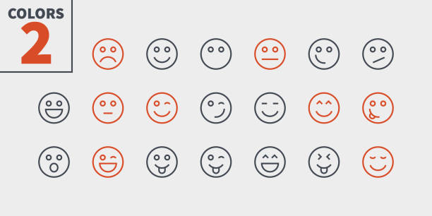 Emotions UI Pixel Perfect Well-crafted Vector Thin Line Icons 48x48 Ready for 24x24 Grid for Web Graphics and Apps with Editable Stroke. Simple Minimal Pictogram Part 1-5 vector art illustration