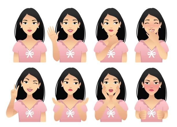 ilustraciones, imágenes clip art, dibujos animados e iconos de stock de emociones - cabello negro