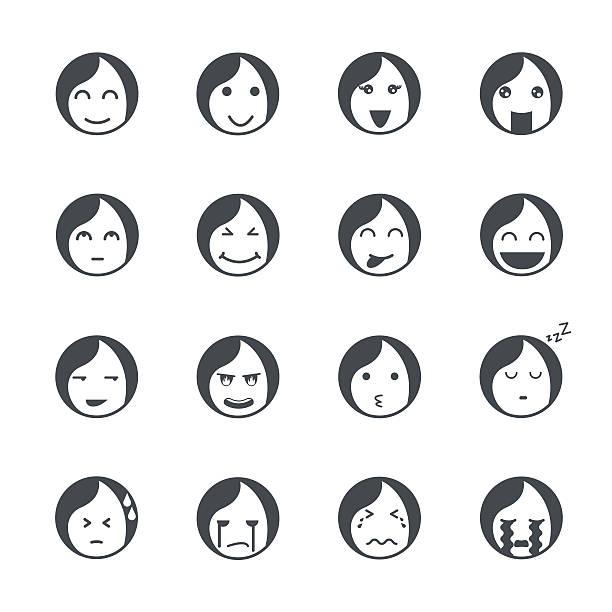 Emociones iconos de las mujeres. - ilustración de arte vectorial