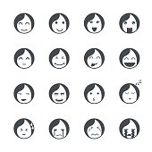 Emotions women icons.