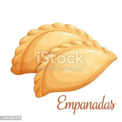 Empanadas or fried pie vector illustration. Typical Latino America and spanish fast food. Empanada in cartoon style close-up for cafe fast food design.