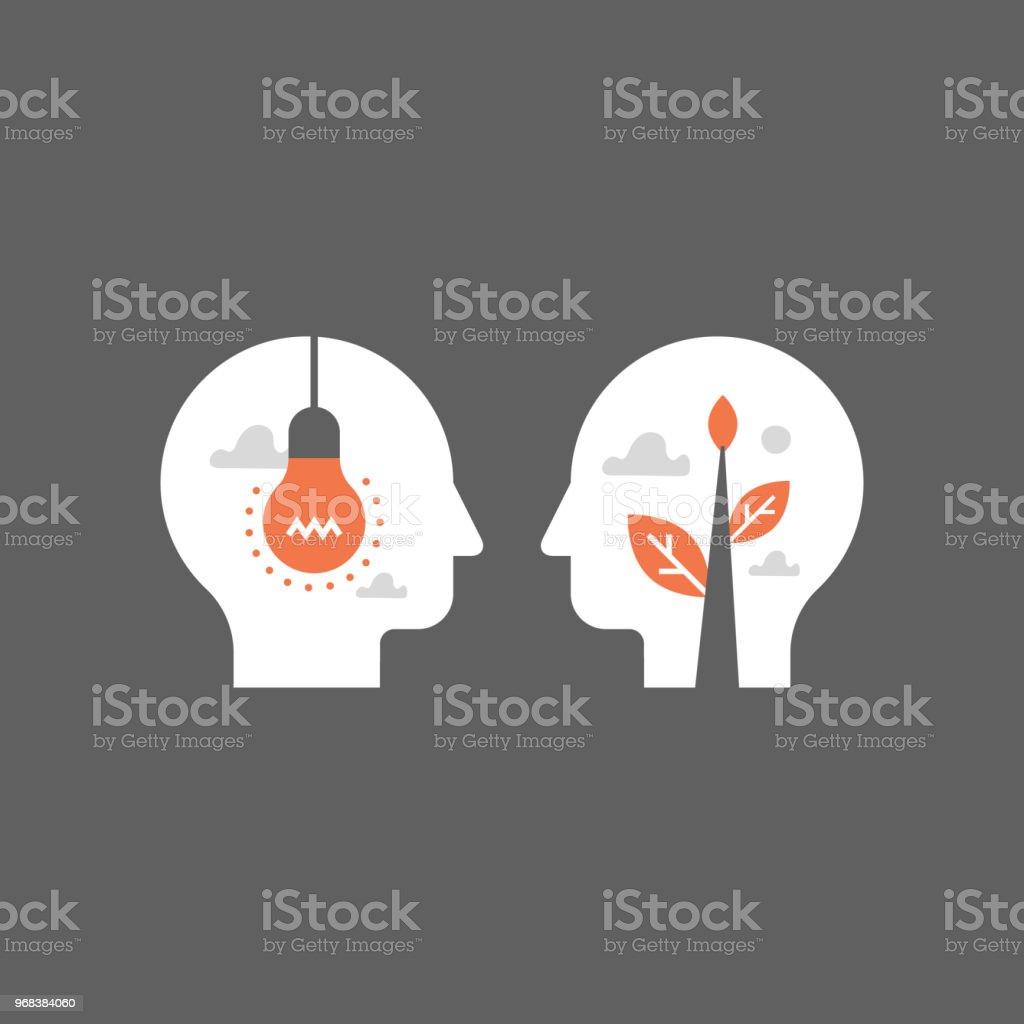 Empatía y comunicación, concepto de asesoramiento, negociación y persuasión, terreno común, inteligencia emocional - ilustración de arte vectorial