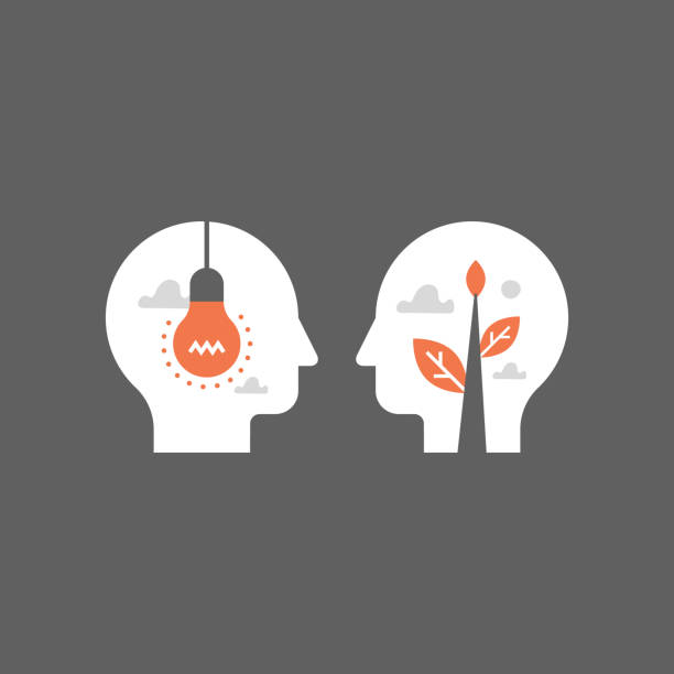 empathy and communication, mentorship concept, negotiation and persuasion, common ground, emotional intelligence - autorytet stock illustrations