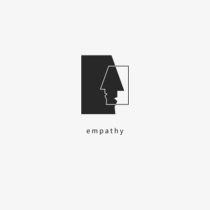 Icon empathy. Psychologist icon, psychotherapist, psychotherapy. Two abstract human profile. Vector pictogram
