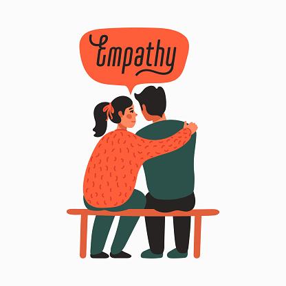Empathy. Empathy and Compassion concept - young woman comforting sad man