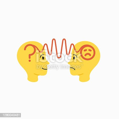 istock Empathy. Empathy concept - silhouettes of two human heads with an abstract image of emotions inside 1280040431