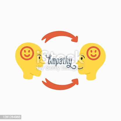 istock Empathy. Empathy concept - silhouettes of two human heads with an abstract image of emotions inside 1281284983