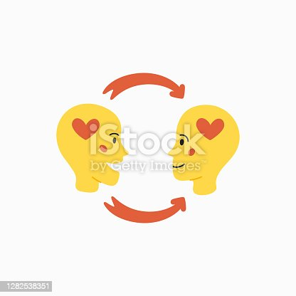 istock Empathy. Empathy concept - silhouettes of two human heads with an abstract image of emotions inside 1282538351