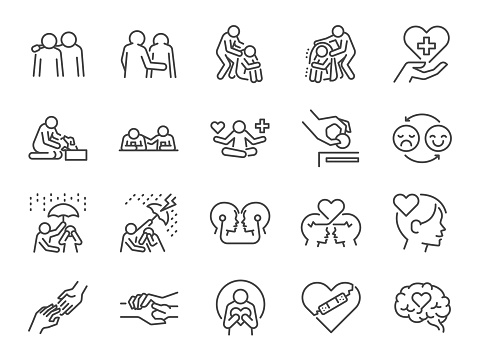 Empathy line icon set. Included the icons as cheer up, friend, support, emotion, mental health, and more.