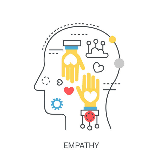 Empathy vector illustration concept. Empathy flat line vector illustration concept isolated comfort stock illustrations