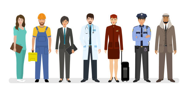 Employee and workers characters standing together with doctor, policeman and nurse. Group of seven people Employee and workers characters standing together with doctor, policeman and nurse. Group of seven people with different occupation. Employment and labor day banner. Vector illustration. police meeting stock illustrations