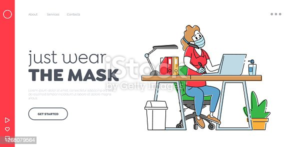 Employee at Coronavirus Pandemic Landing Page Template. Office Girl Character in Protective Medical Mask Working on Laptop Sit at Table Workplace Talking by Mobile Phone. Linear Vector Illustration