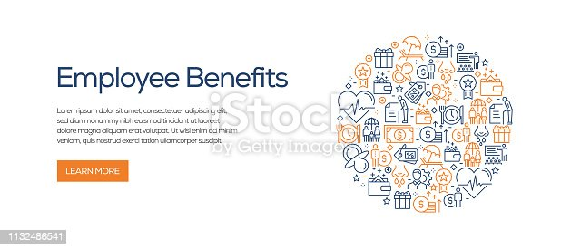 Employee Benefits Banner Template with Line Icons. Modern vector illustration for Advertisement, Header, Website.