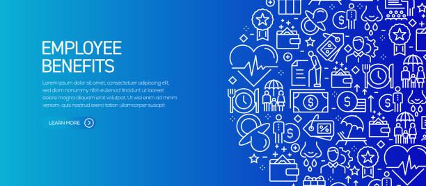 ilustrações de stock, clip art, desenhos animados e ícones de employee benefits banner template with line icons. modern vector illustration for advertisement, header, website. - benefits