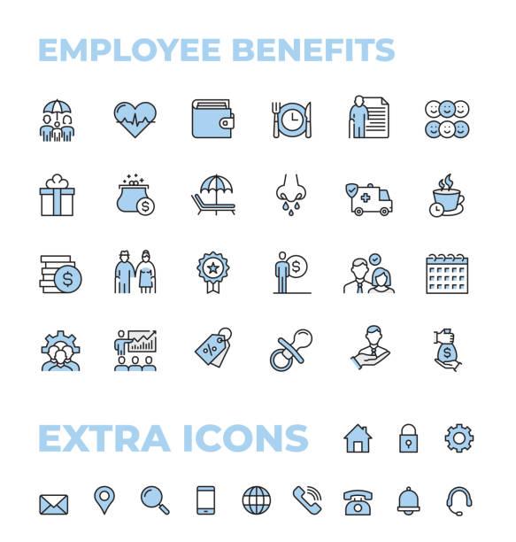 ilustrações de stock, clip art, desenhos animados e ícones de employee benefits color thin line icon set - benefits