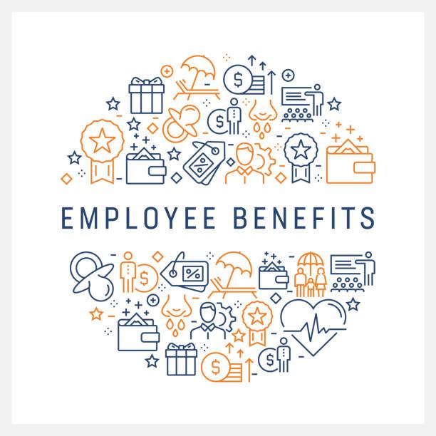 ilustrações de stock, clip art, desenhos animados e ícones de employee benefits concept - colorful line icons, arranged in circle - benefits