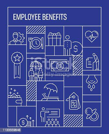 Employee Benefits Concept. Geometric Retro Style Banner and Poster Concept with Employee Benefits Line Icons
