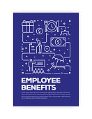Employee Benefits Concept Line Style Cover Design for Annual Report, Flyer, Brochure.