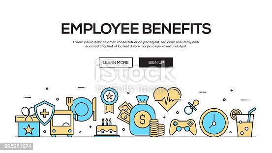 Employee Benefits Flat Line Web Banner Design