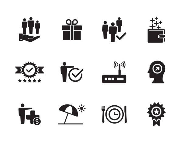 ilustrações de stock, clip art, desenhos animados e ícones de employee benefits icon set - benefits