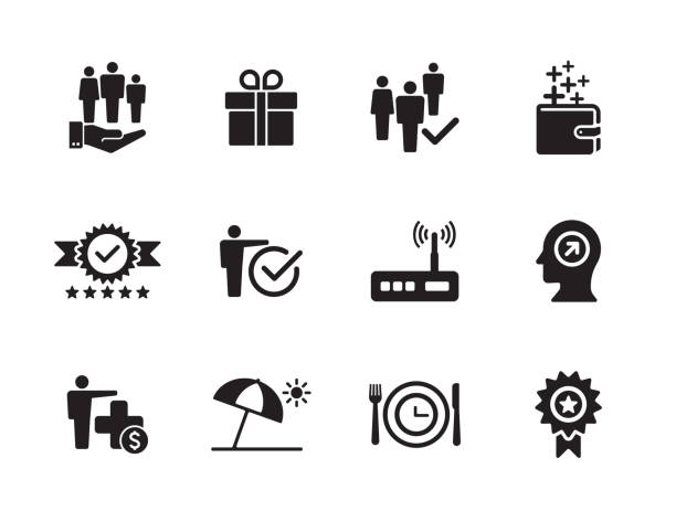 Employee Benefits Icon Set Employee Benefits Icon Set perks stock illustrations