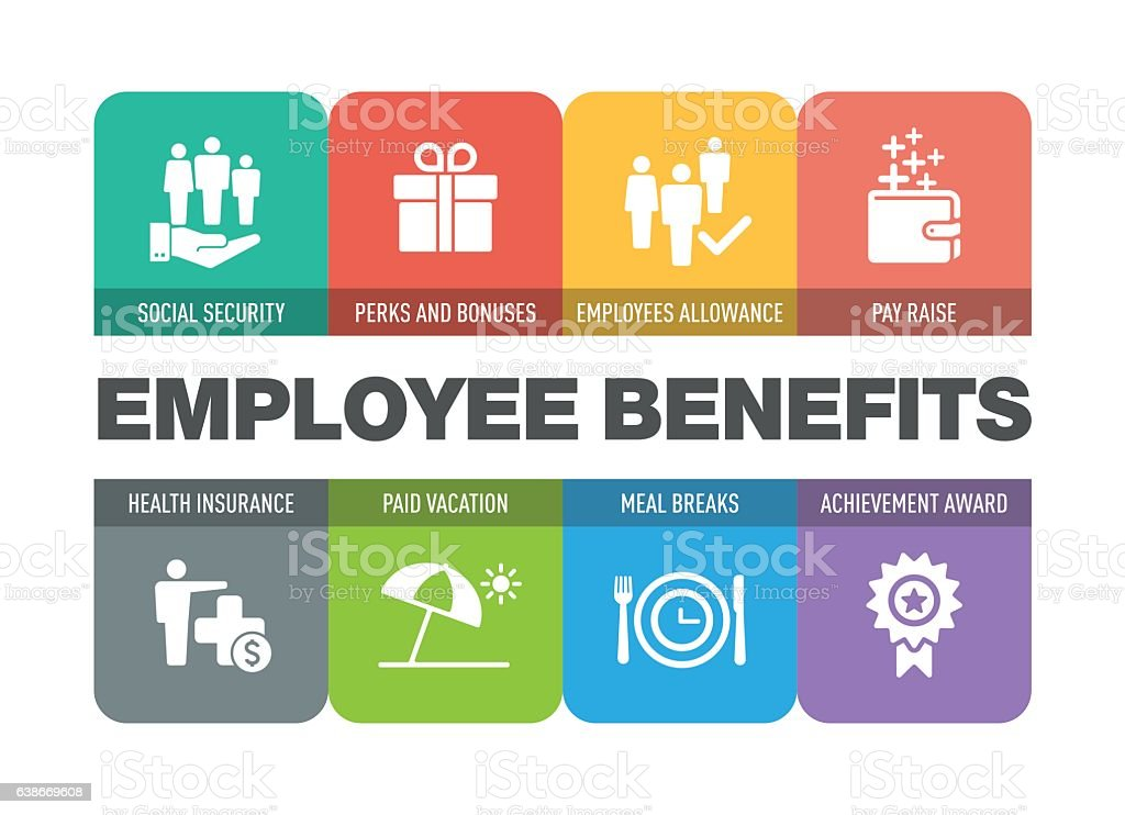 Employee Benefits Icon Set vector art illustration