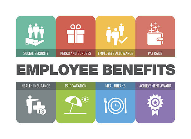 illustrazioni stock, clip art, cartoni animati e icone di tendenza di employee benefits icon set - bonus