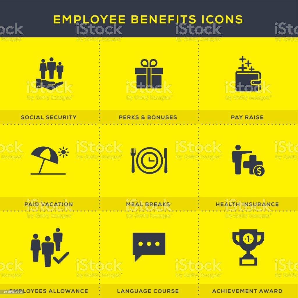 Conjunto de ícones de benefícios dos empregados - ilustração de arte em vetor
