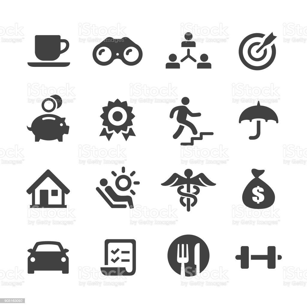 Empleado beneficios iconos - serie Acme - ilustración de arte vectorial