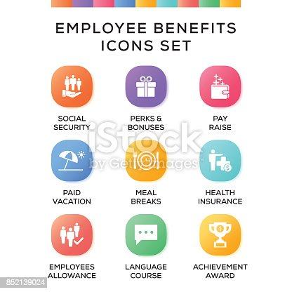 Employee Benefits Icons Set on Gradient Background