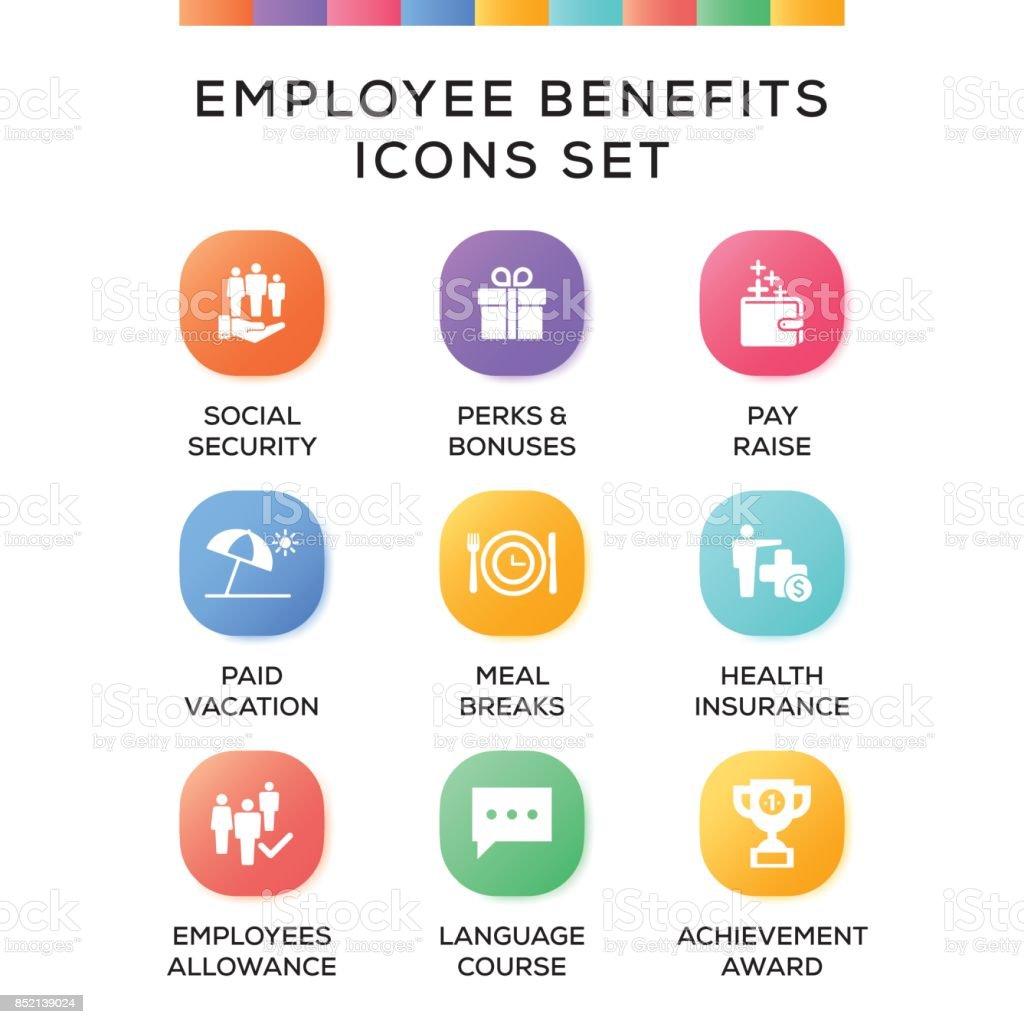 Conjunto de ícones de benefícios de empregado em fundo gradiente - ilustração de arte em vetor