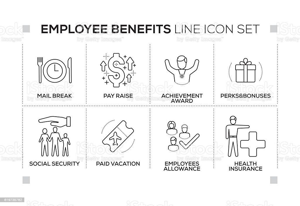 Employee Benefits Keywords With Monochrome Line Icons Stock Vektor ...