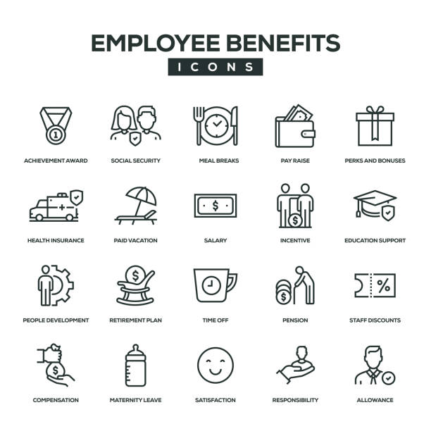 illustrazioni stock, clip art, cartoni animati e icone di tendenza di employee benefits line icon set - reparto assunzioni