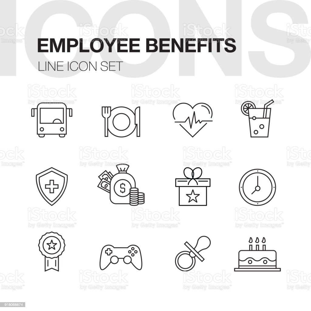 Employee Benefits Line Icons vector art illustration