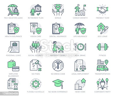istock Employee benefits line icons. Vector illustration with icon - hr, perks, organization, maternity rest, sick leave outline pictogram for personal management. Green Color Editable Stroke 1298565459