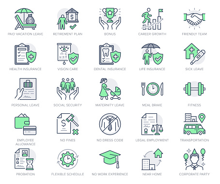 Employee benefits line icons. Vector illustration with icon - hr, perks, organization, maternity rest, sick leave outline pictogram for personal management. Green Color Editable Stroke