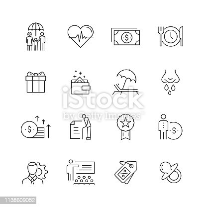 Employee Benefits - Set of Thin Line Vector Icons