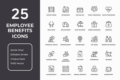 Employee Benefits Thin Line Icon Set